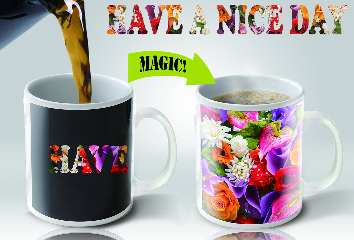 Magic Mugs | Amazing New Heat Sensitive Color Changing Coffee Mug , Good Unique Gift Idea | Flowers Design | 11oz 100% Ceramic Mug
