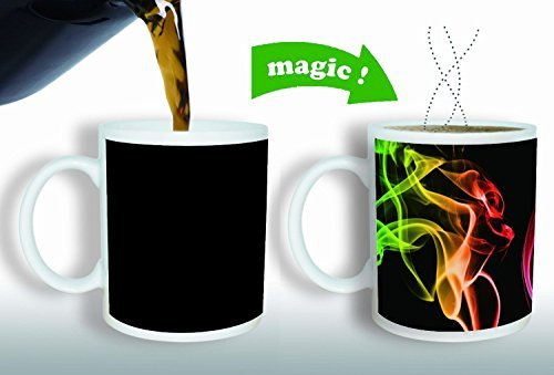 Magic Mug Heat Sensitive Color Changing Coffee Mug, Smoke Design, 11oz