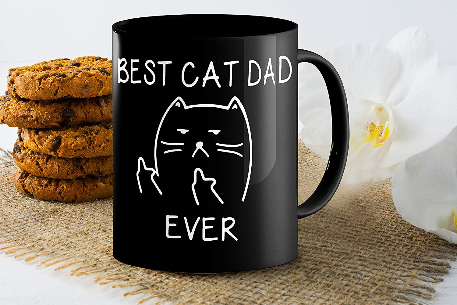 Best Cat Dad EverFunny Cat Lover Gifts Funny Middle Finger Black Coffee MugUnique Birthday Gift For Dad B079FVKRCM 5