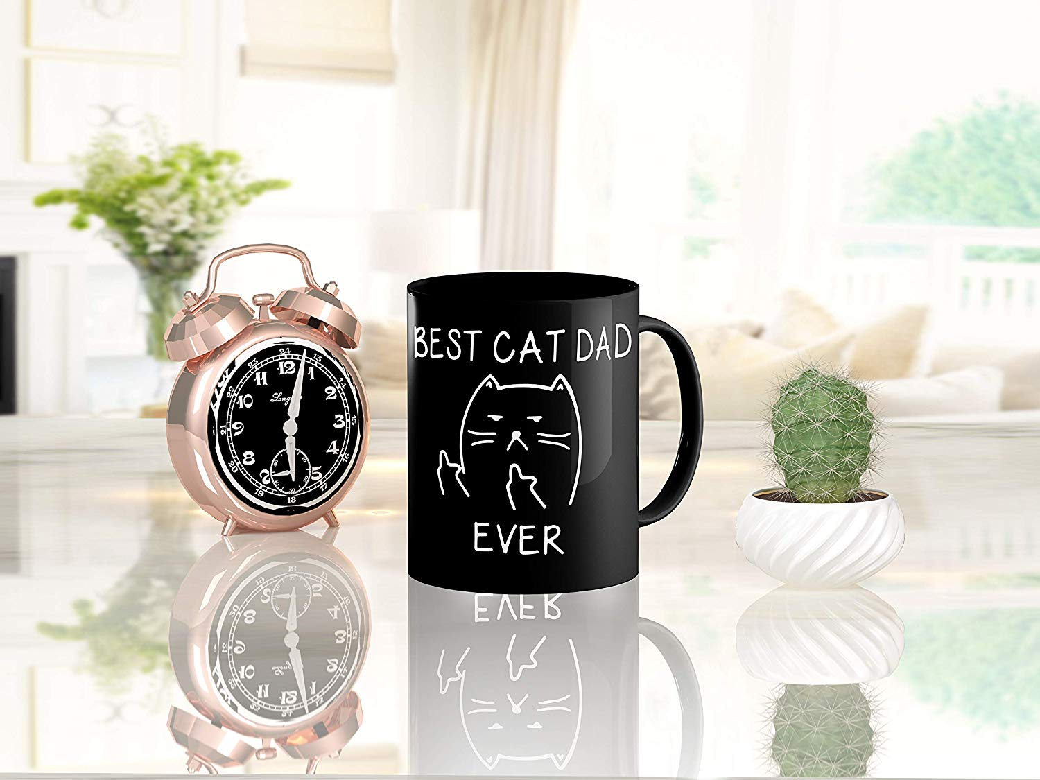 Best Cat Dad EverFunny Cat Lover Gifts Funny Middle Finger Black Coffee MugUnique Birthday Gift For Dad B079FVKRCM 6