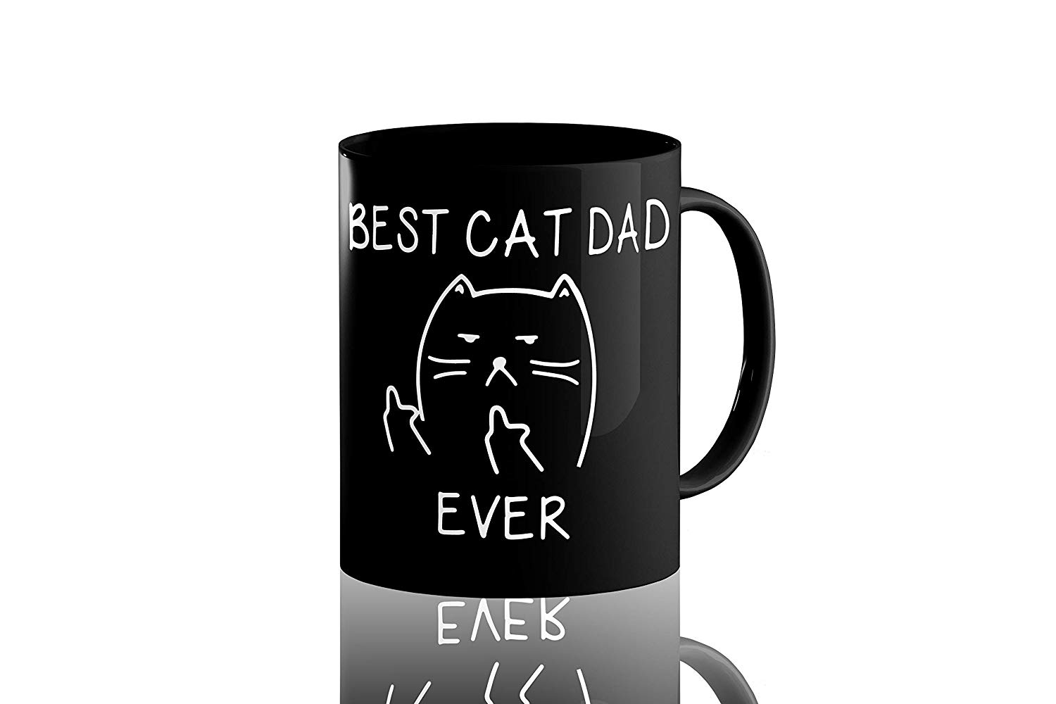 Best Cat Dad Ever,Funny Cat Lover Gifts, Funny Middle Finger Black Coffee Mug,Unique Birthday Gift For Dad