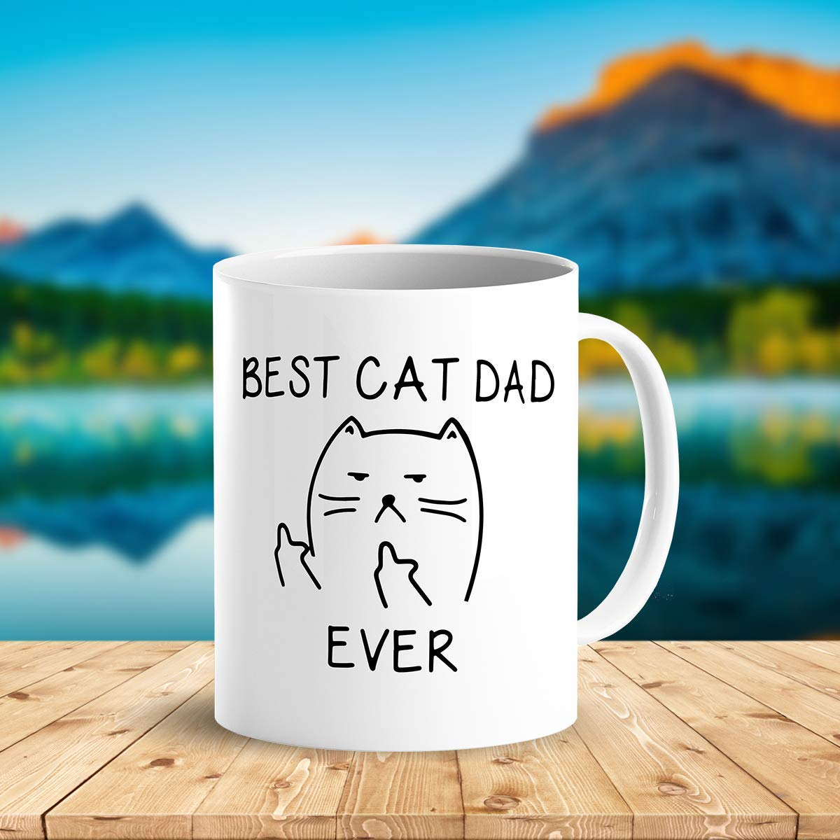 Best Cat Dad EverFunny Cat Lover Gifts Funny Middle Finger Coffee MugUnique Birthday Gift For Dad B079FZ3DHS 3
