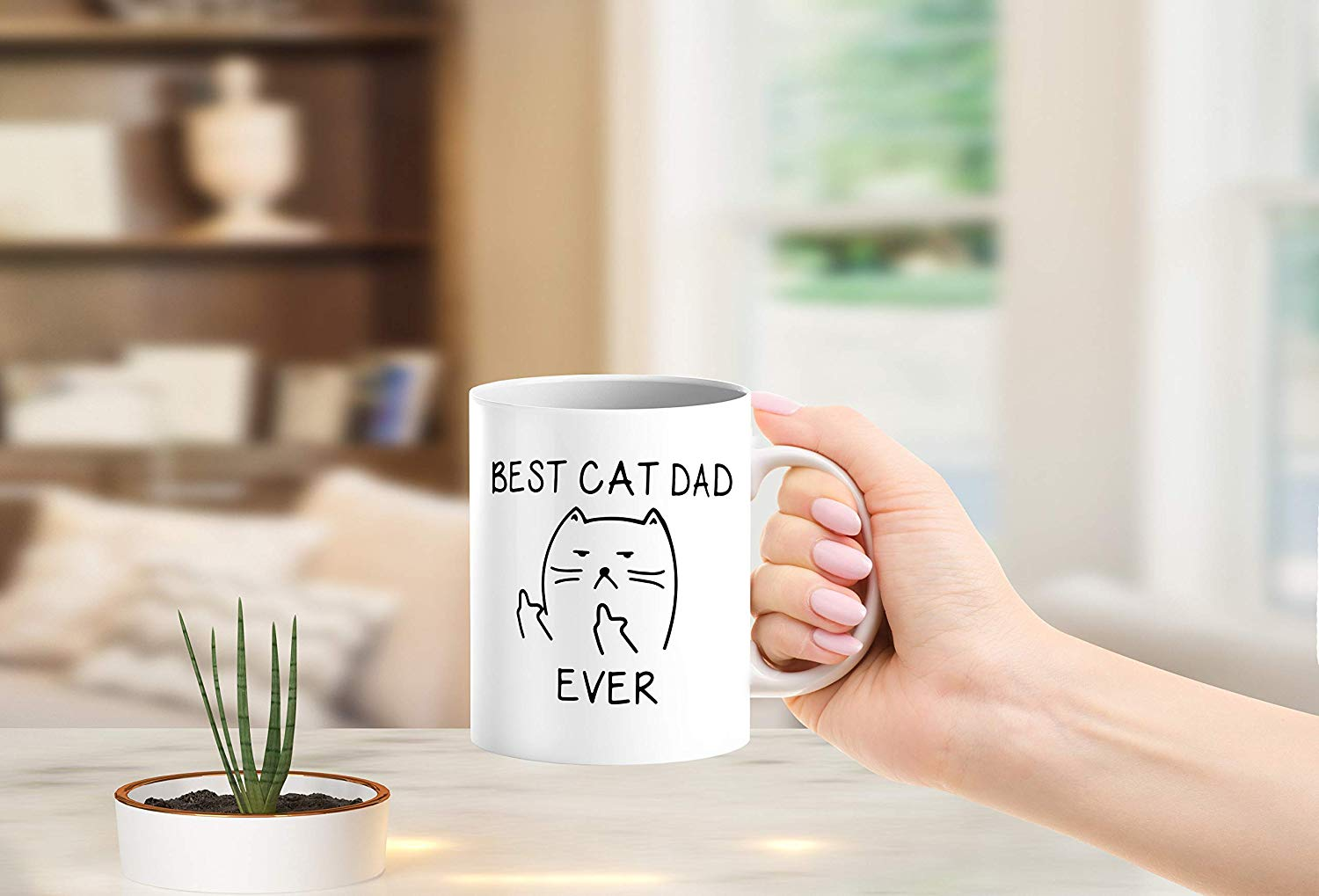 Best Cat Dad EverFunny Cat Lover Gifts Funny Middle Finger Coffee MugUnique Birthday Gift For Dad B079FZ3DHS 5