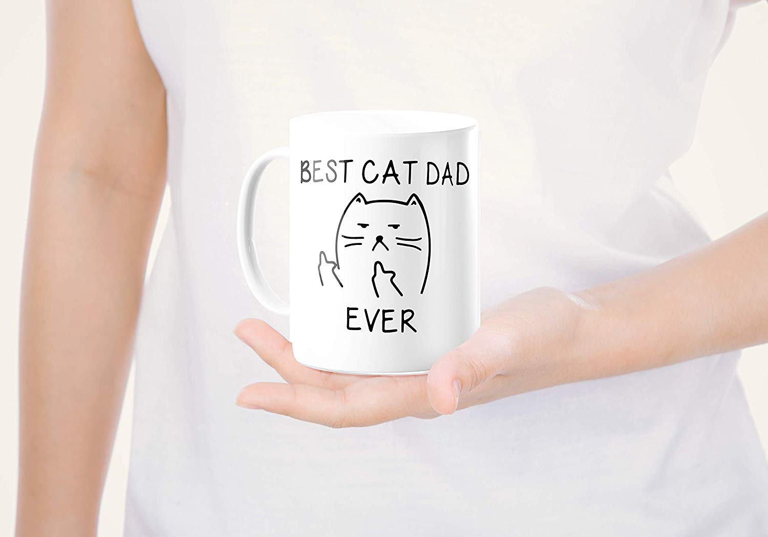 Best Cat Dad EverFunny Cat Lover Gifts Funny Middle Finger Coffee MugUnique Birthday Gift For Dad B079FZ3DHS 8