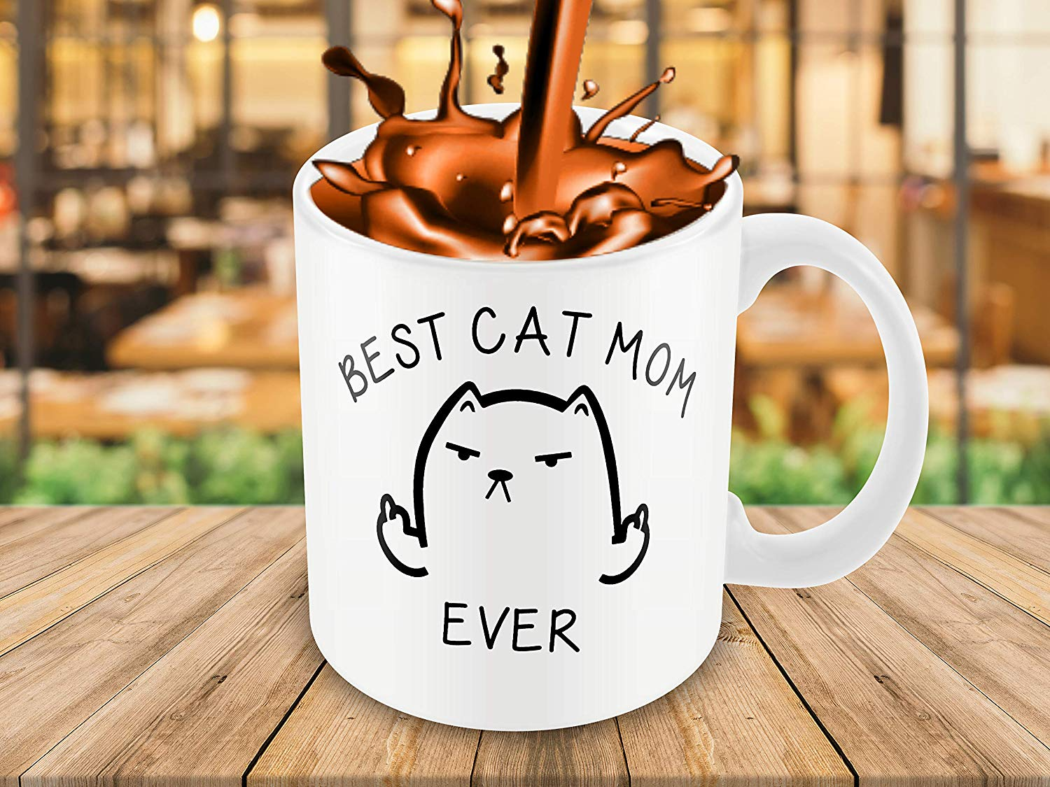 Best Cat Mom Ever Funny Coffee Mug Cat Middle Finger 11 Oz Birthday Gift For MotherMom Or Wife B079FRN7MM 3