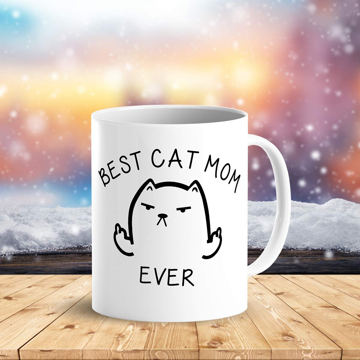 Best Cat Mom Ever Funny Coffee Mug Cat Middle Finger 11 Oz Birthday Gift For MotherMom Or Wife B079FRN7MM 5