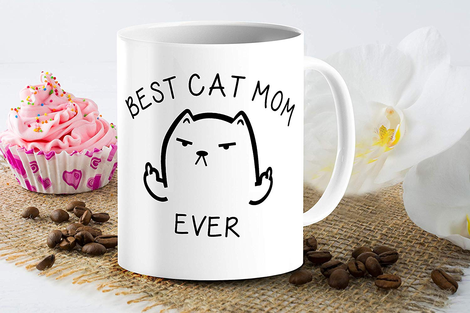 Best Cat Mom Ever Funny Coffee Mug Cat Middle Finger 11 Oz Birthday Gift For MotherMom Or Wife B079FRN7MM 6