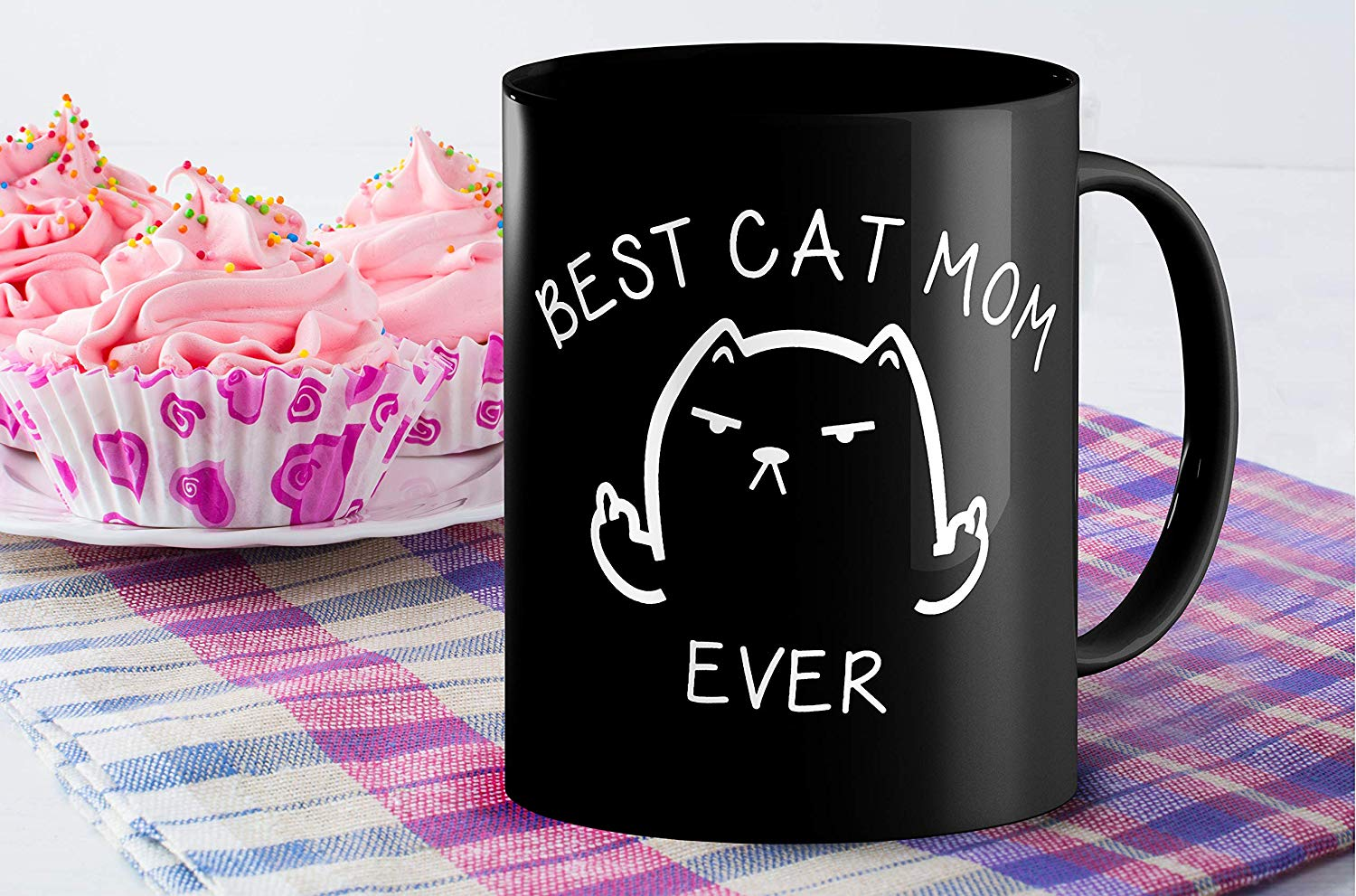 Best Cat Mom Ever Funny Coffee Mug Cat Middle Finger 11 Oz Birthday Gift For MotherMom Or Wife B079FYPL3B 6
