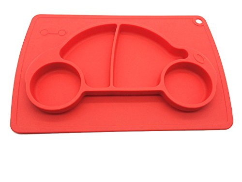 Car Silicone Baby Placemat Square Red B072614VQT 4