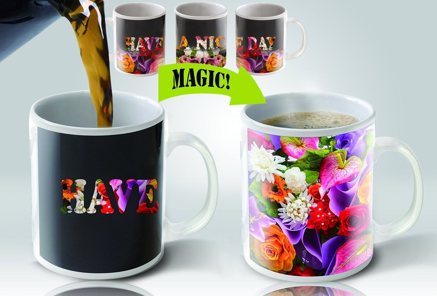 Cortunex | Amazing New Heat Sensitive Color Changing Coffee Mug | Good Gift Idea | Go Away Magic Mug 11oz
