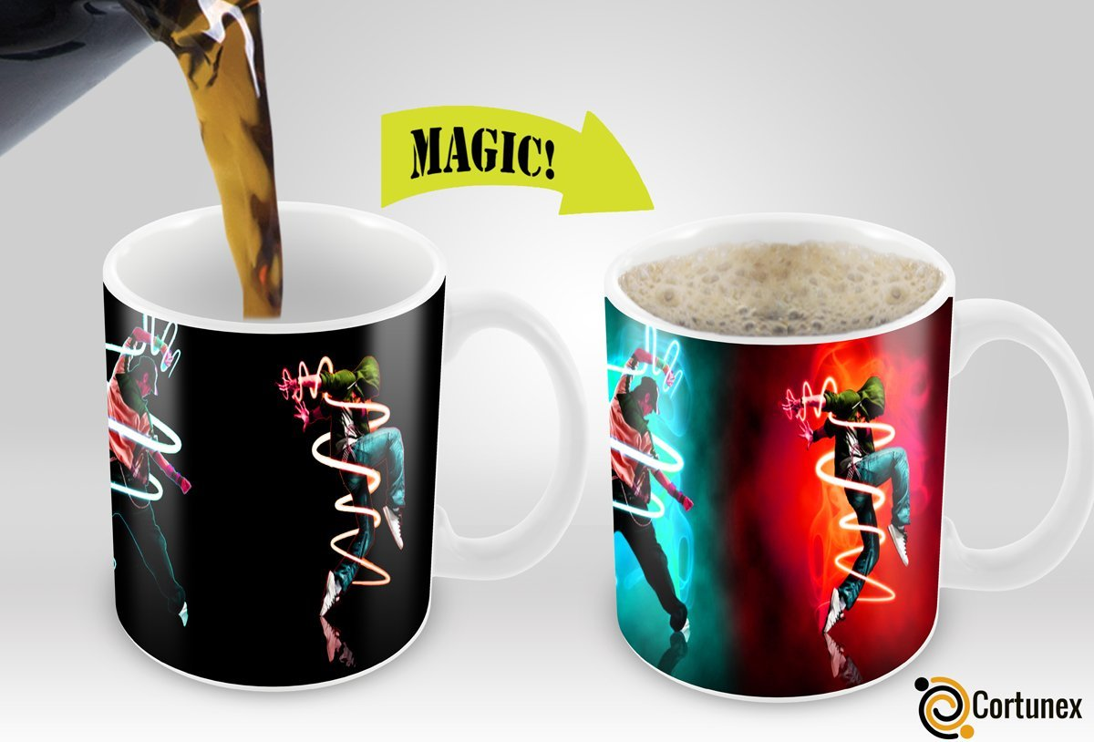 Cortunex | Magic Mugs | Amazing New Heat Sensitive Color Changing Coffee Mug , Good Unique Gift Idea | Fancy Heart Design | 11oz 100% Ceramic Mug