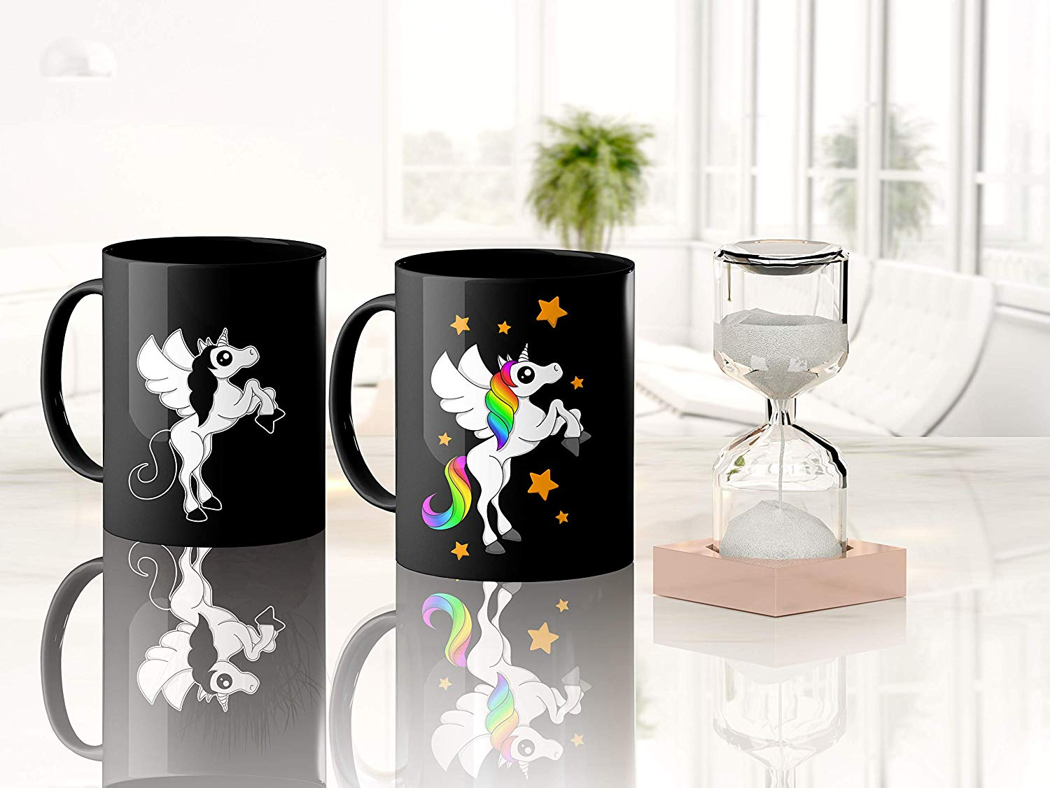 Heat Sensitive Color Changing Coffee Mug Funny Coffee Cup Black Unicorn Design Funny Gift Idea B07D21DSFL 4