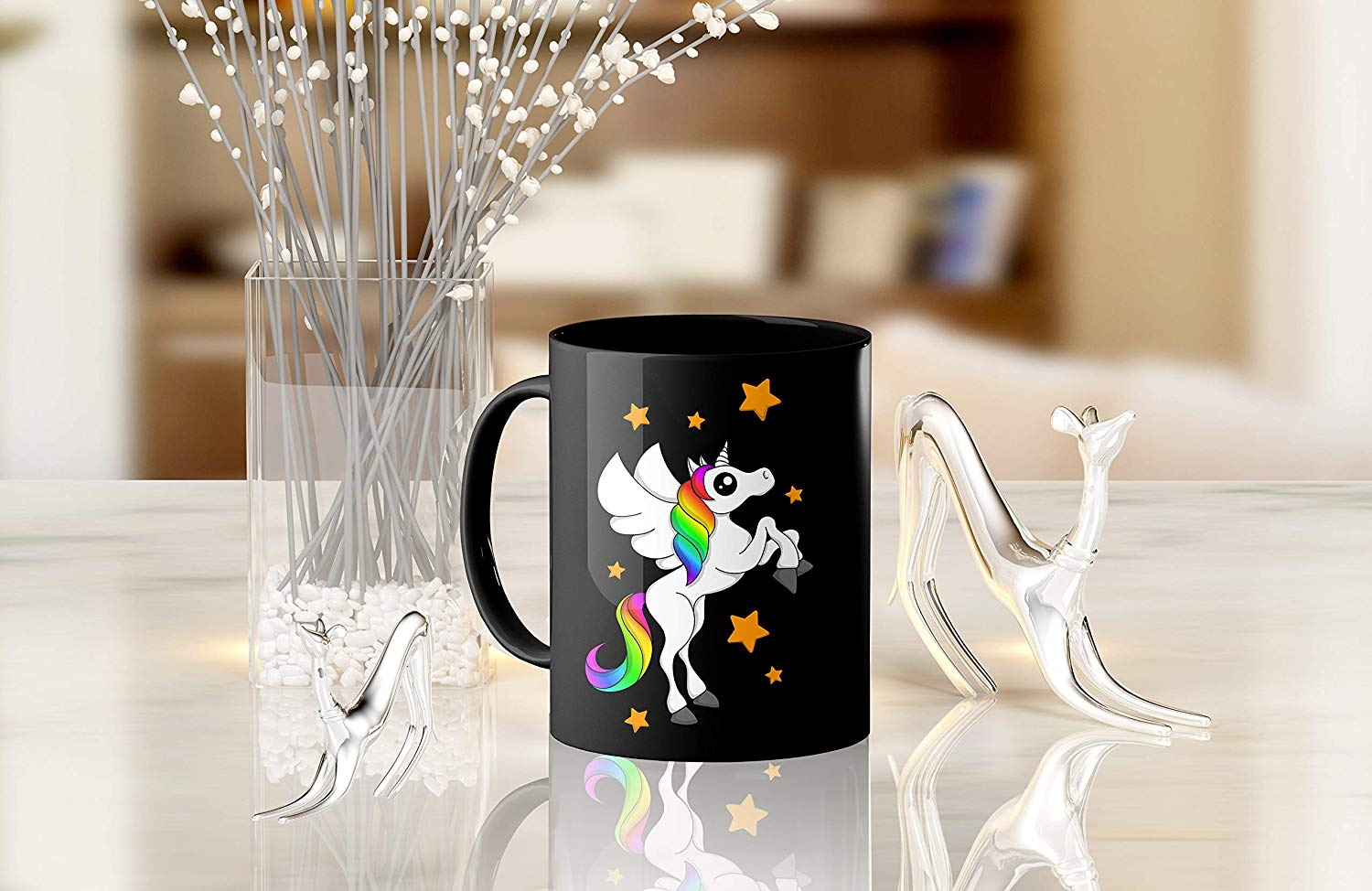 Heat Sensitive Color Changing Coffee Mug Funny Coffee Cup Black Unicorn Design Funny Gift Idea B07D21DSFL 9