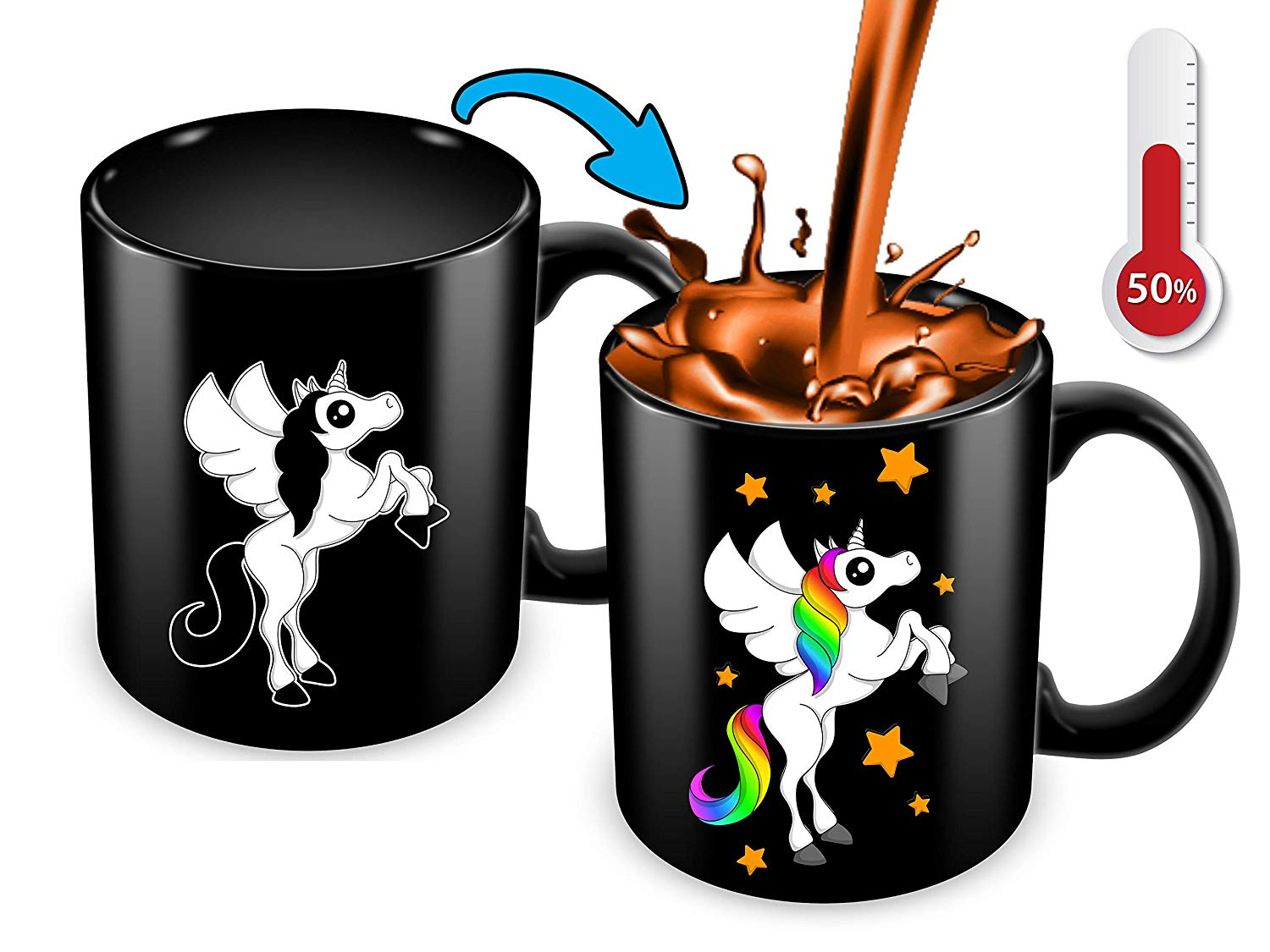 Heat Sensitive Color Changing Coffee Mug Funny Coffee Cup Black Unicorn Design Funny Gift Idea B07D21DSFL