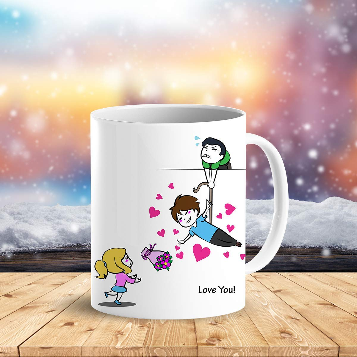 Heat Sensitive Color Changing Coffee Mug Funny Coffee Cup Flying Lovely Cartoon Couple Design Funny Gift Idea B07D21S68R 2