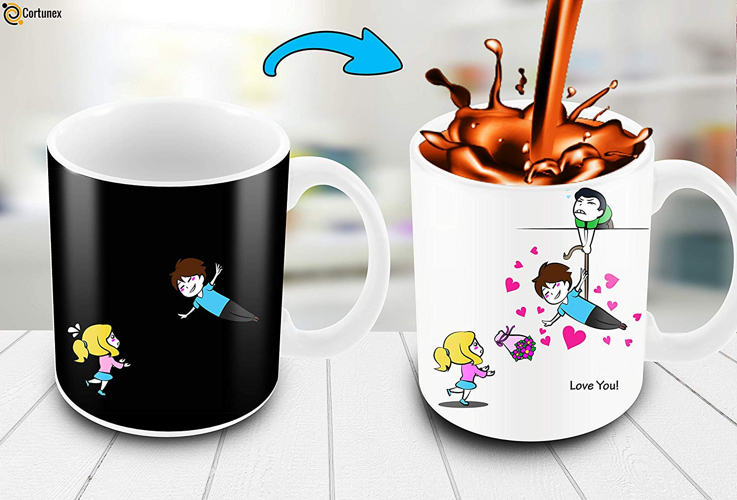 Heat Sensitive Color Changing Coffee Mug Funny Coffee Cup Flying Lovely Cartoon Couple Design Funny Gift Idea B07D21S68R 3