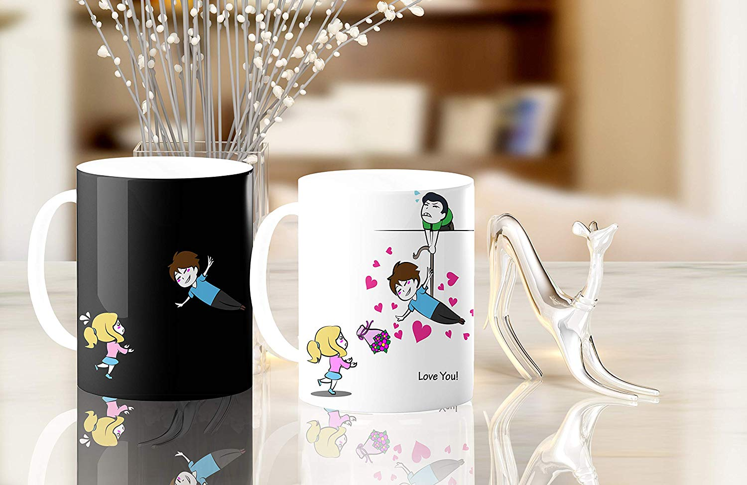 Heat Sensitive Color Changing Coffee Mug Funny Coffee Cup Flying Lovely Cartoon Couple Design Funny Gift Idea B07D21S68R 5
