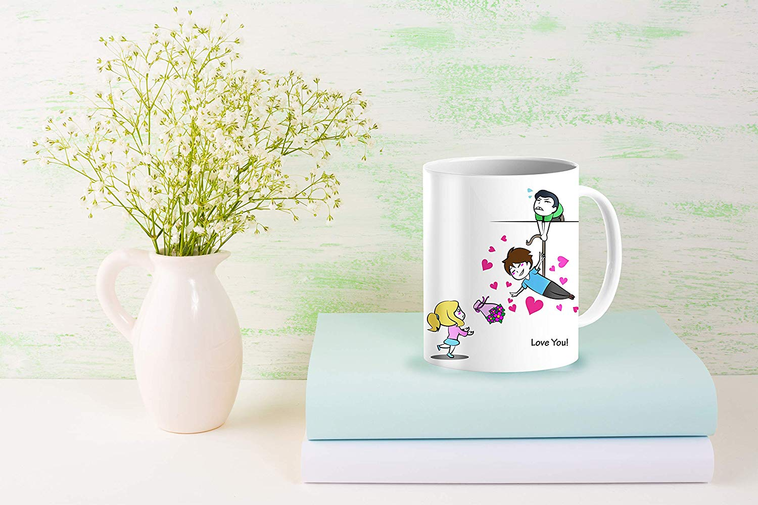 Heat Sensitive Color Changing Coffee Mug Funny Coffee Cup Flying Lovely Cartoon Couple Design Funny Gift Idea B07D21S68R 8