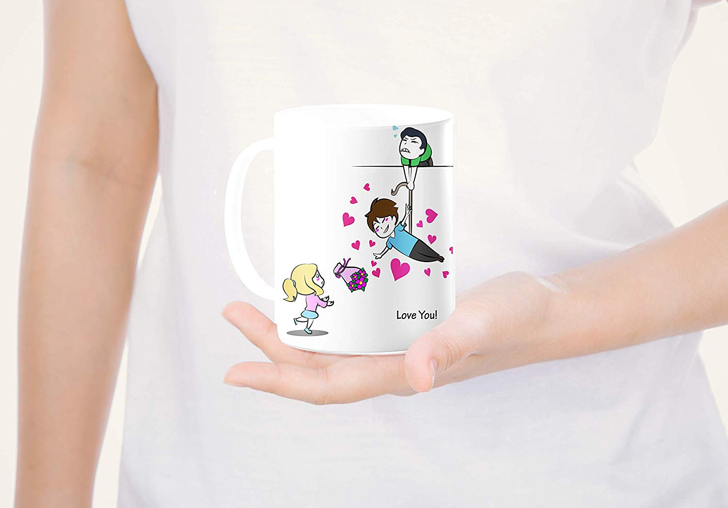 Heat Sensitive Color Changing Coffee Mug Funny Coffee Cup Flying Lovely Cartoon Couple Design Funny Gift Idea B07D21S68R 9
