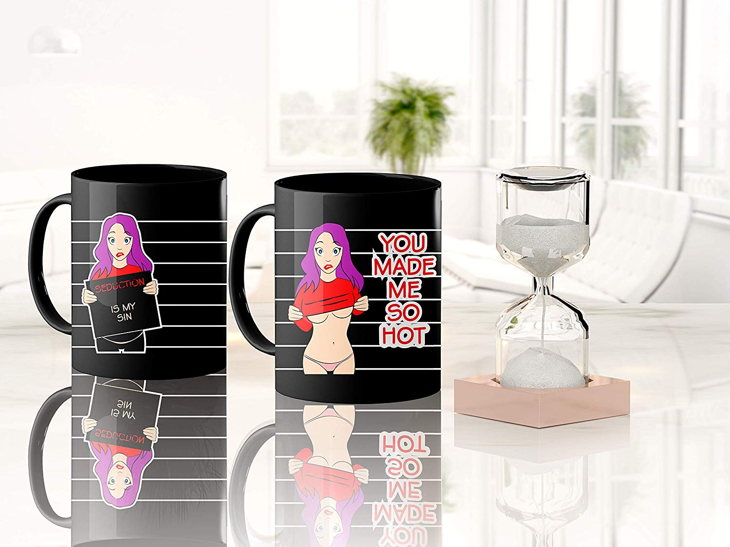 Heat Sensitive Color Changing Coffee Mug Funny Coffee Cup Hot Girl Design Funny Gift Idea B07D21CPTQ 4