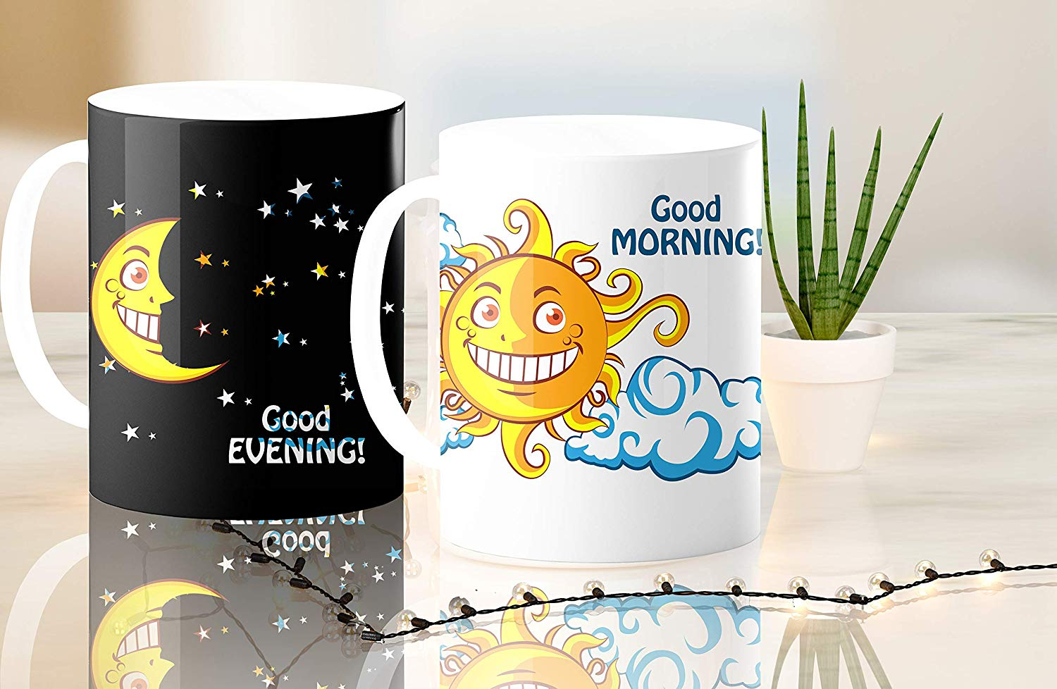 Heat Sensitive Color Changing Coffee Mug Funny Coffee Cup NightDay MoonSun Design Funny Gift Idea B07D223C62 8