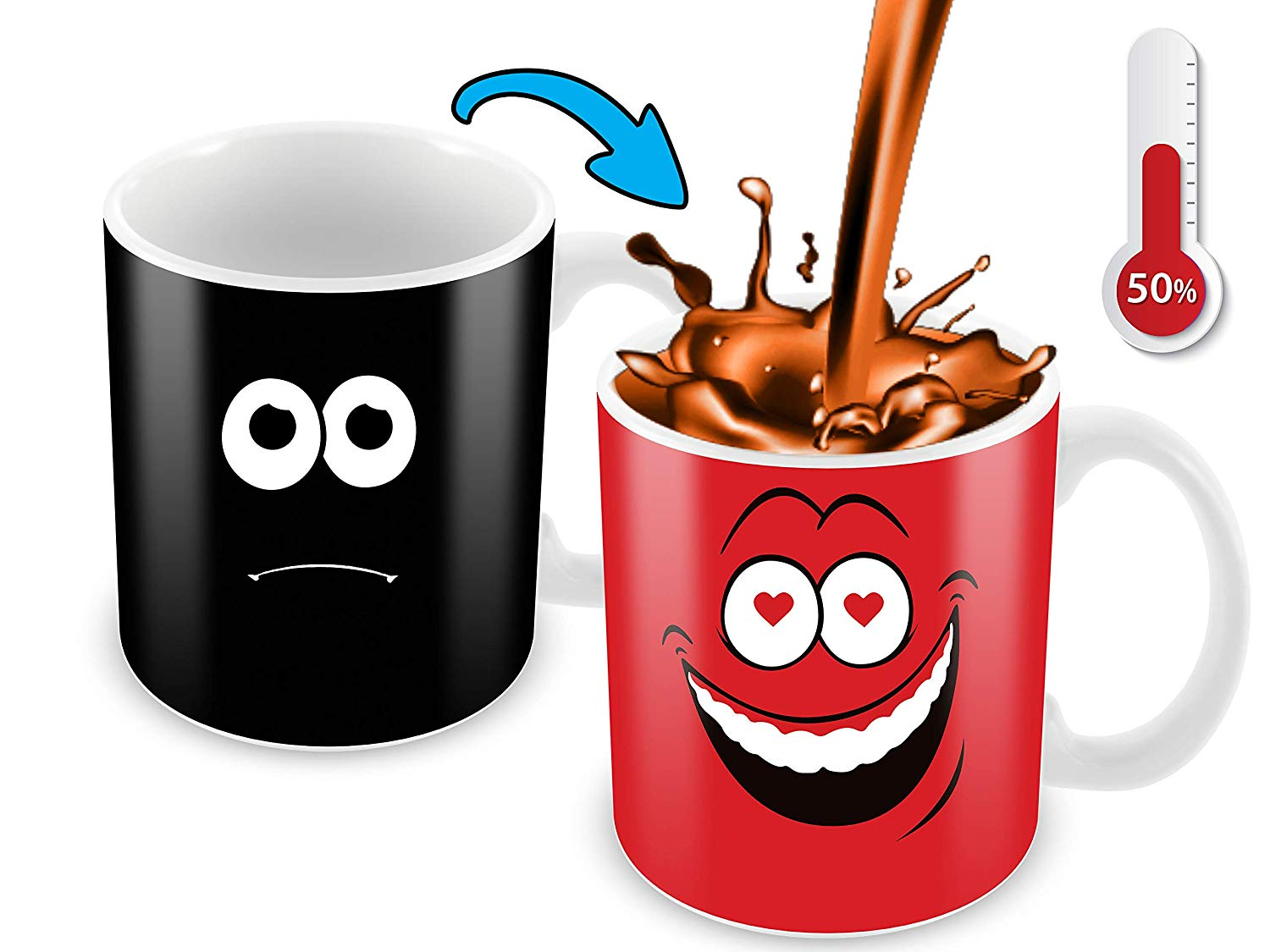 Heat Sensitive Color Changing Coffee Mug Funny Coffee Cup Red Loved Funny Face Design Funny Gift Idea B079FRF6YM