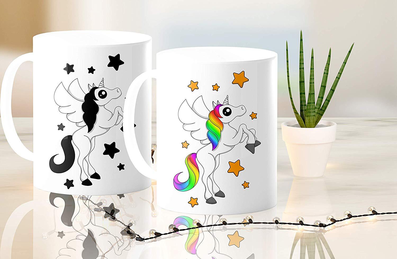 Heat Sensitive Color Changing Coffee Mug Funny Coffee Cup White Unicorn Design Funny Gift Idea B07D21VPWS 4
