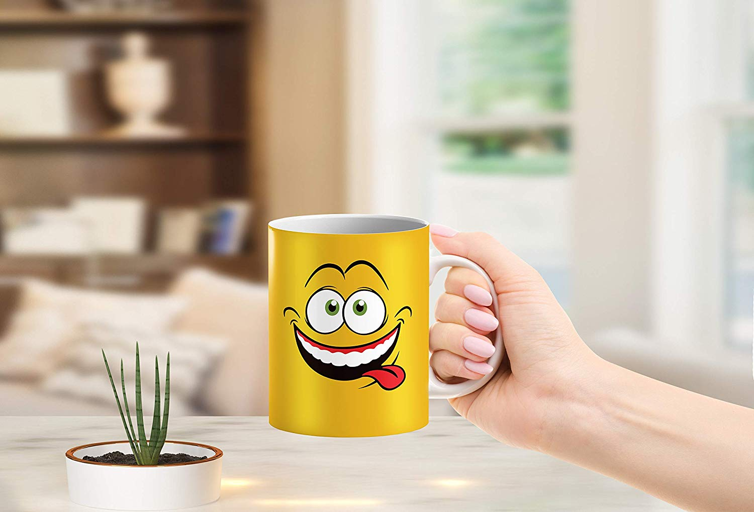 Heat Sensitive Color Changing Coffee Mug Funny Coffee Cup Yellow Drunk Funny Face Design Funny Gift Idea B079FWN7ZQ 3