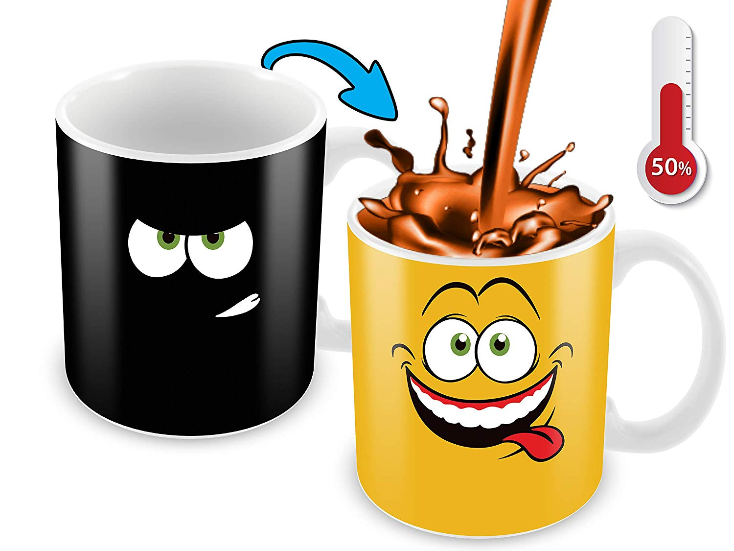 Heat Sensitive Color Changing Coffee Mug Funny Coffee Cup Yellow Drunk Funny Face Design Funny Gift Idea B079FWN7ZQ