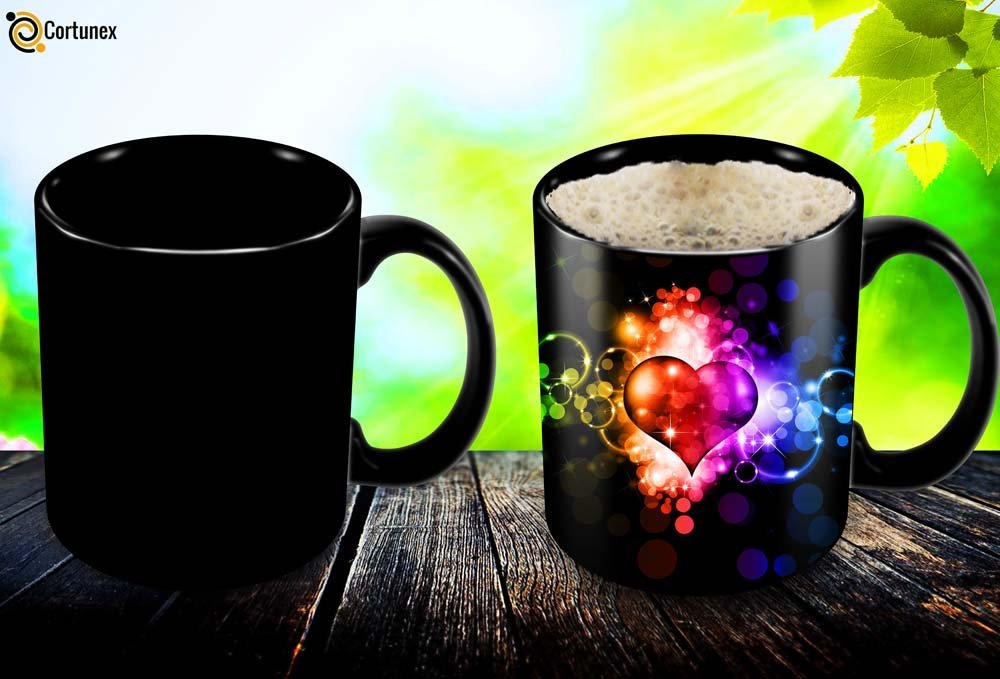 Magic Coffee Mugs Heat Sensitive Color Changing Coffee Mug Good Gift Mug Fancy Heart Design 11oz 100 Ceramic Black Mug B01N1XQ6SU 2