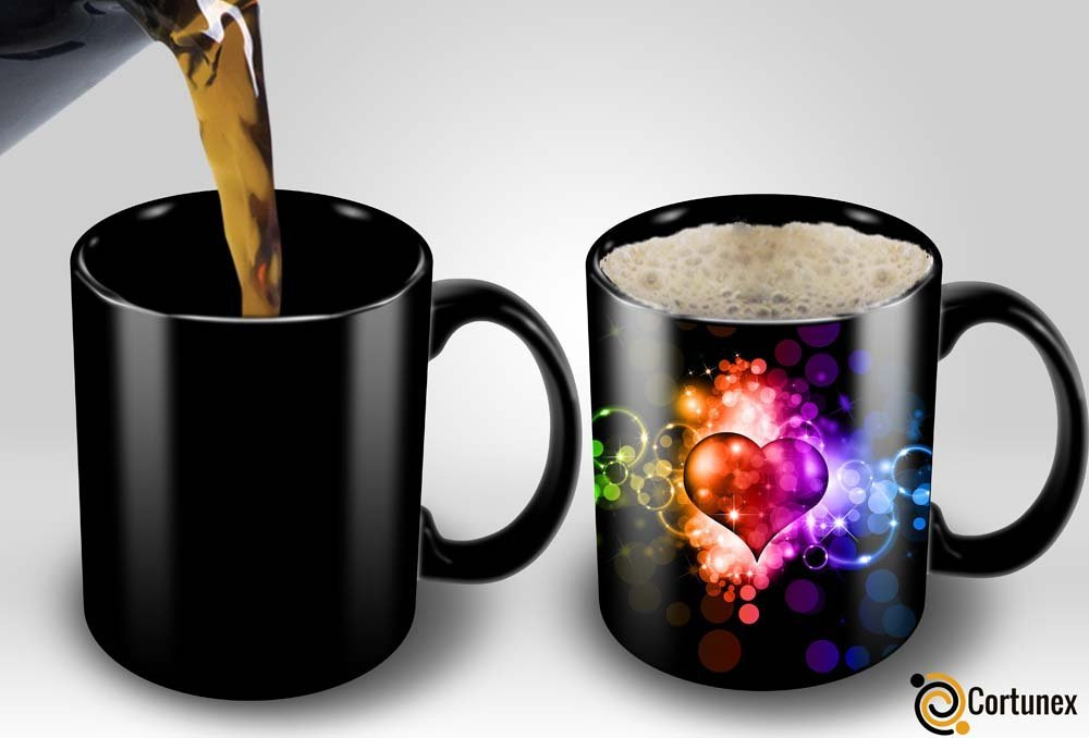 Magic Coffee Mugs Heat Sensitive Color Changing Coffee Mug Good Gift Mug Fancy Heart Design 11oz 100% Ceramic Black Mug