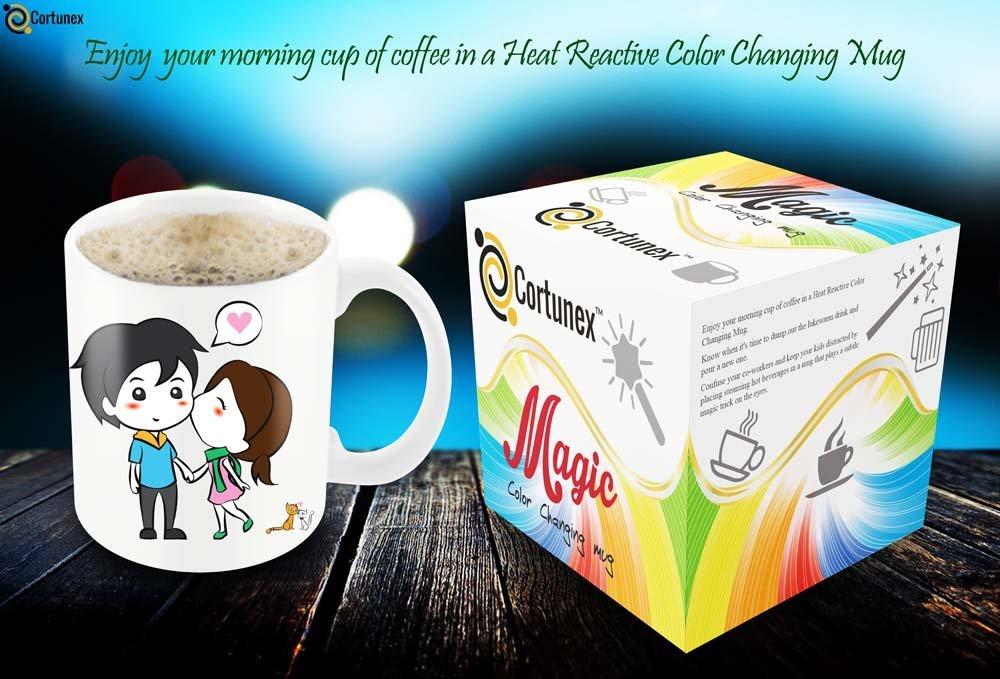 Magic Coffee Mugs Heat Sensitive Color Changing Coffee Mug Good Gift Mug Lovely Cartoon Couples Design 11oz 100 Ceramic B01NAOI73D 2