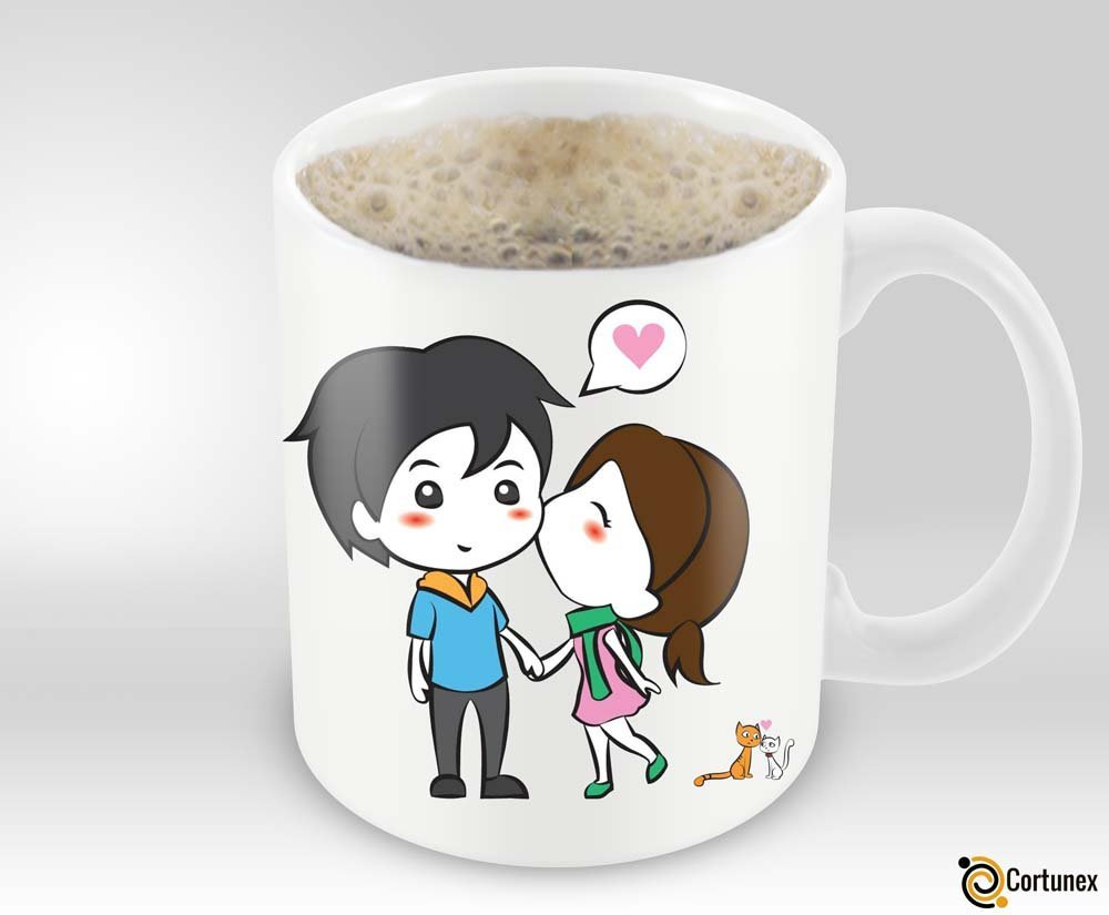 Magic Coffee Mugs Heat Sensitive Color Changing Coffee Mug Good Gift Mug Lovely Cartoon Couples Design 11oz 100 Ceramic B01NAOI73D 4