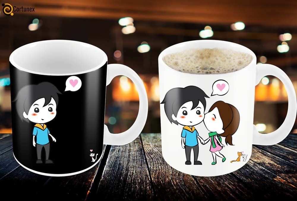 Magic Coffee Mugs Heat Sensitive Color Changing Coffee Mug Good Gift Mug Lovely Cartoon Couples Design 11oz 100 Ceramic B01NAOI73D 5
