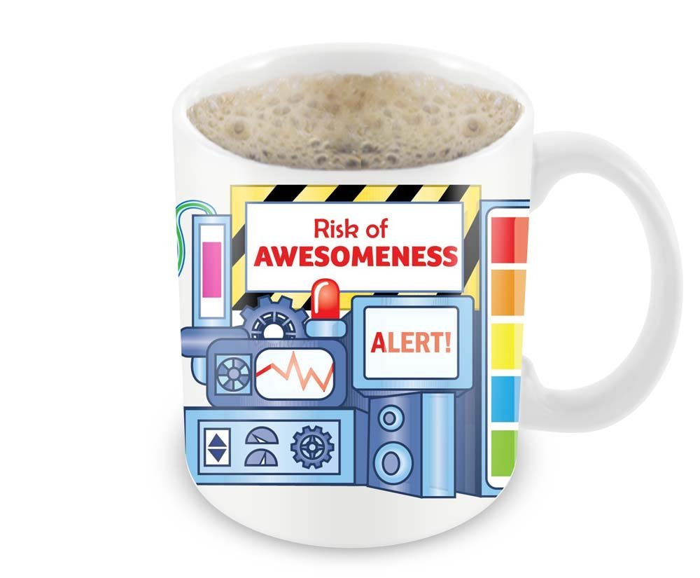 Magic Coffee Mugs Heat Sensitive Color Changing Coffee Mug Good Gift Mug Risk Of Awesomeness Design 11oz 100 Ceramic Bl B01NAO7MNB 5