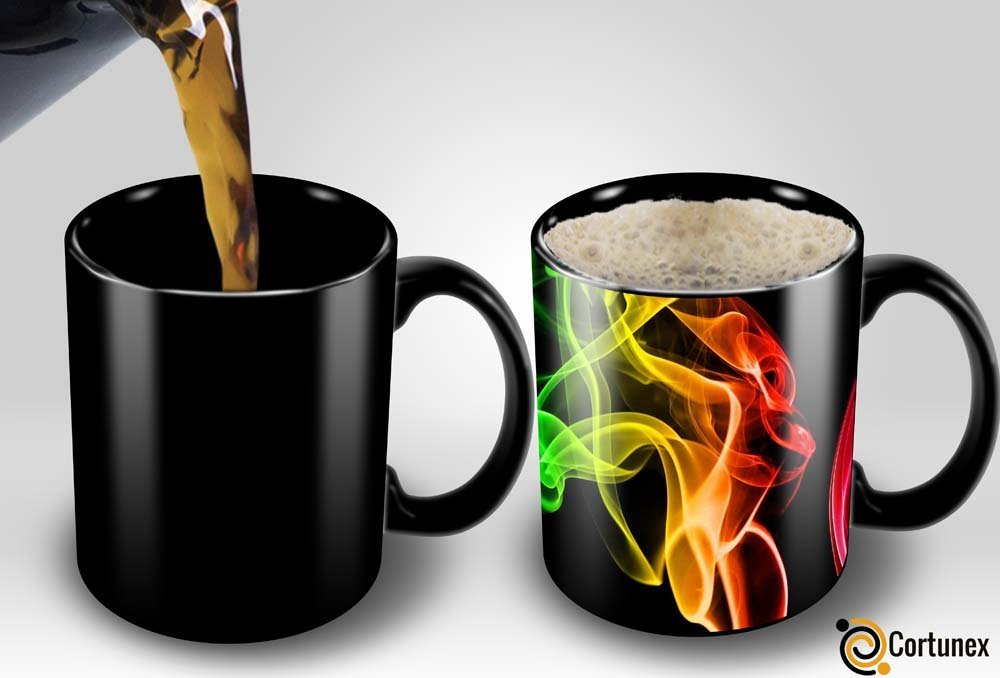 Magic Coffee Mugs Heat Sensitive Color Changing Coffee Mug Good Gift Mug Smoke Design 11oz | Funny Coffee/Tea Cup | 100% Ceramic | Black Mug