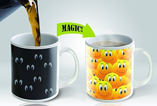 Magic Mug Heat Sensitive Color Changing Coffee Mug, Smiley Design, 11oz