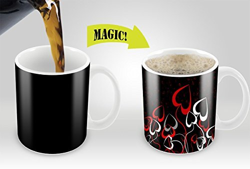 Magic Mugs | Amazing New Heat Sensitive Color Changing Coffee / Tea Mug , Good Lovely Gift Idea | Home , Office , Kitchen |Flowery Hearts Cup Design