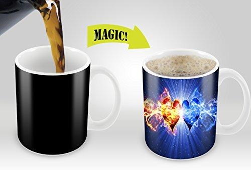 Magic Mugs | Amazing New Heat Sensitive Color Changing Coffee Mug , Good Unique Gift Idea | 2 Hearts Design