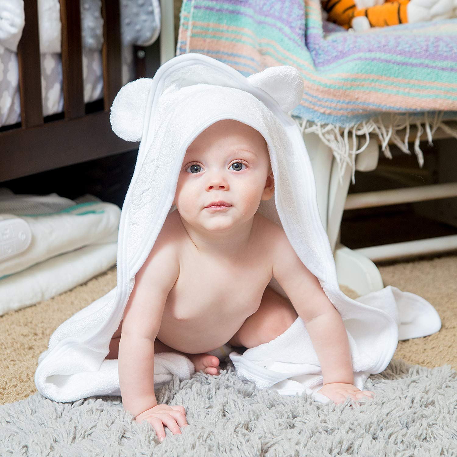 White Bamboo Hooded Baby Towel 100 Organic Unisex Towel Highly Absorbent And Super Soft Bath Towel For The Pool And Th B07211F5TG 2