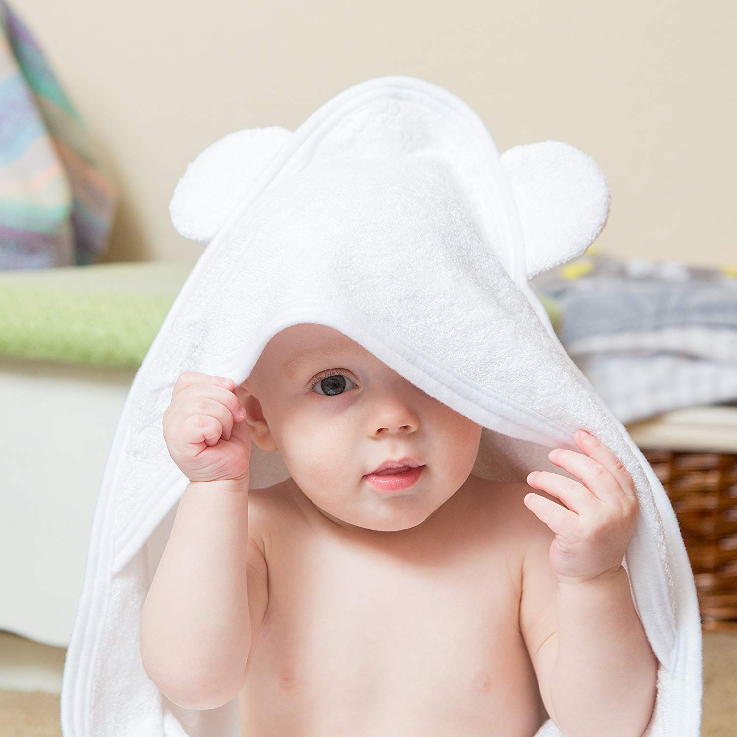 White Bamboo Hooded Baby Towel 100 Organic Unisex Towel Highly Absorbent And Super Soft Bath Towel For The Pool And Th B07211F5TG 6