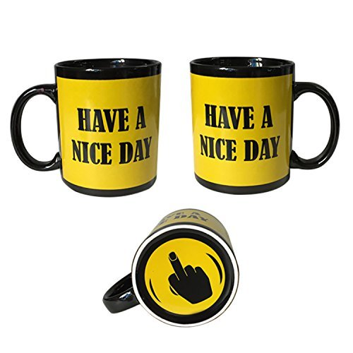 Yellow Have A Nice Day Coffee Mug | Middle Finger Funny Cup | 11oz 100% Ceramic Mug