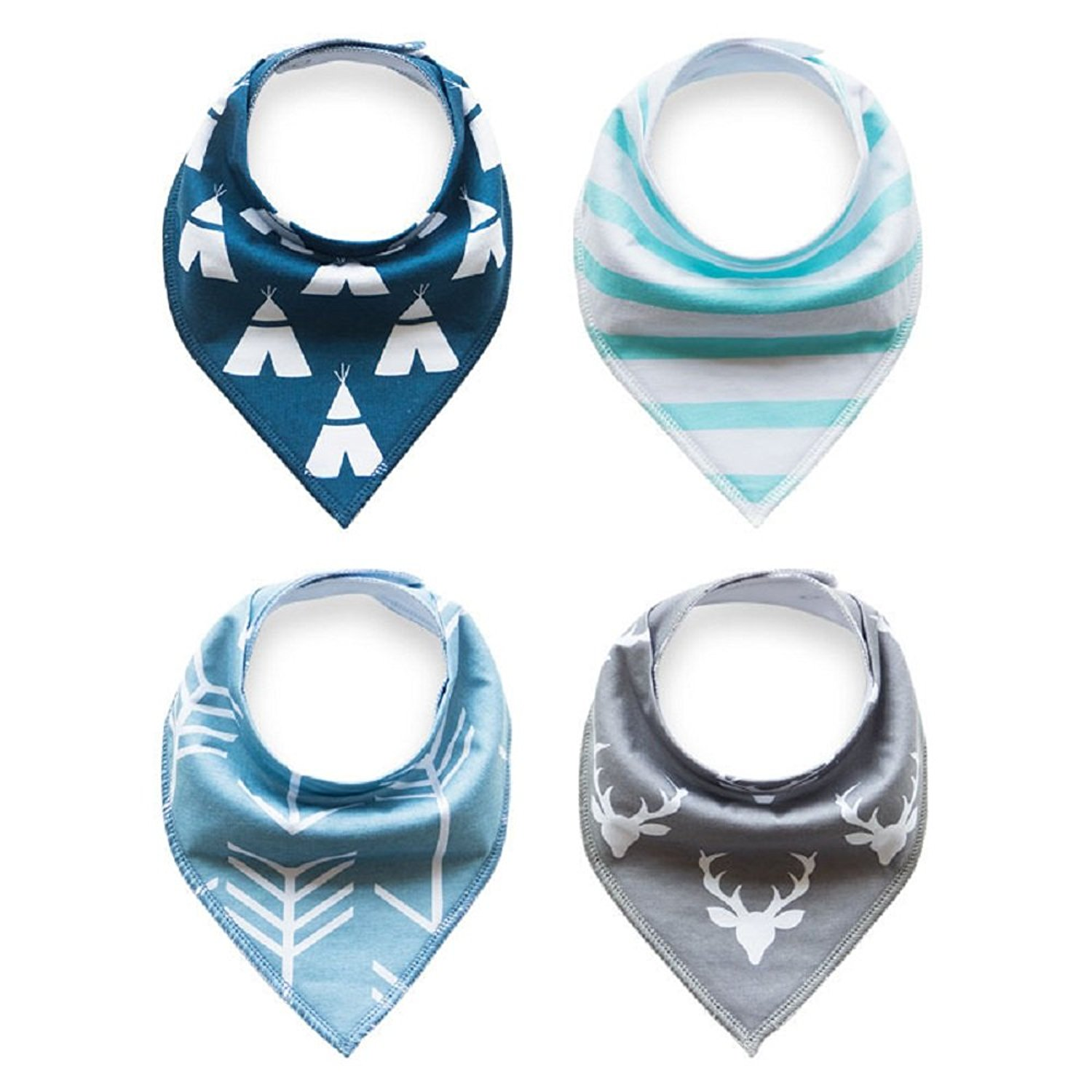 Baby Bandana Drool Bib Set Of 4Organic Super Absorbent Soft Chic Drooling And Teething Bibs B071G2GSQ3