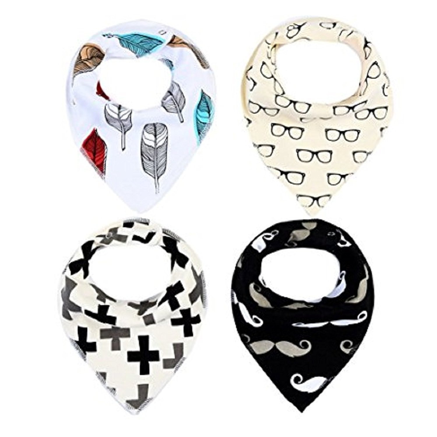 Baby Bandana Drool Bib Set Of 4Organic Super Absorbent Soft Chic Drooling And Teething Bibs B072MGMS23