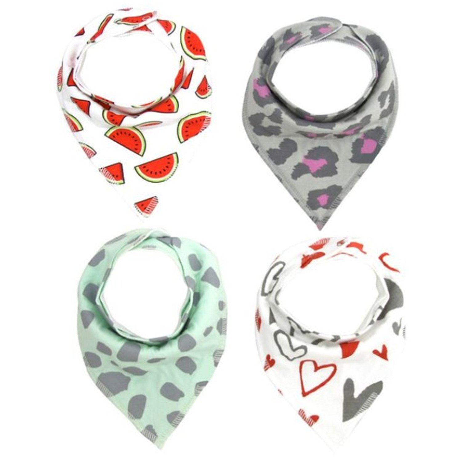 Baby Bandana Drool Bib Set Of 4Organic Super Absorbent Soft Chic Drooling And Teething Bibs B072MGP9P9