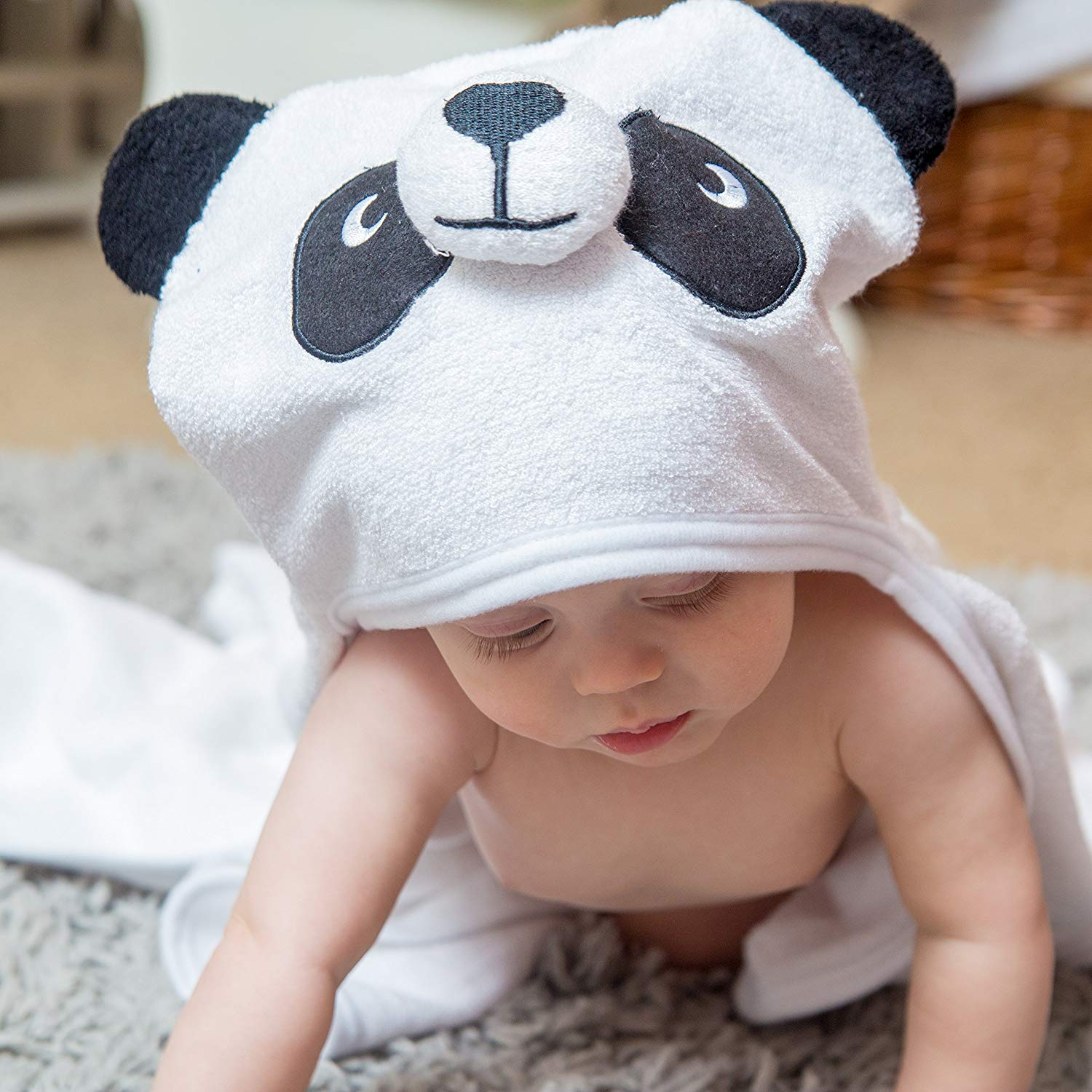 Bamboo Panda Hooded Baby Towel 100 Organic Unisex Towel Highly Absorbent And Super Soft Bath Towel For The Pool An B071G2C4Z9 3