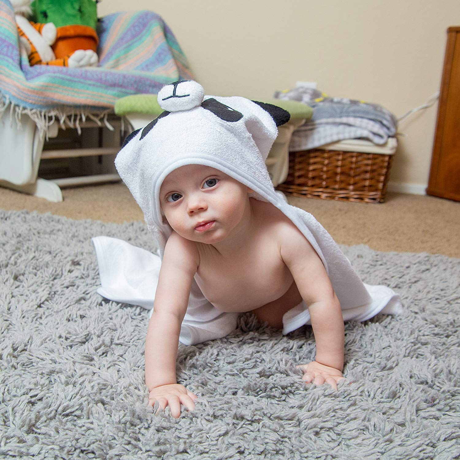 Bamboo Panda Hooded Baby Towel 100 Organic Unisex Towel Highly Absorbent And Super Soft Bath Towel For The Pool An B071G2C4Z9 4