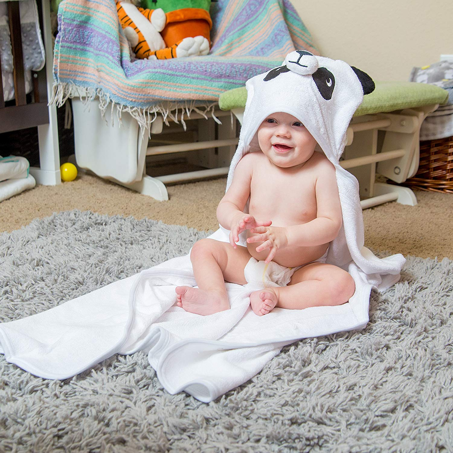 Bamboo Panda Hooded Baby Towel 100 Organic Unisex Towel Highly Absorbent And Super Soft Bath Towel For The Pool An B071G2C4Z9