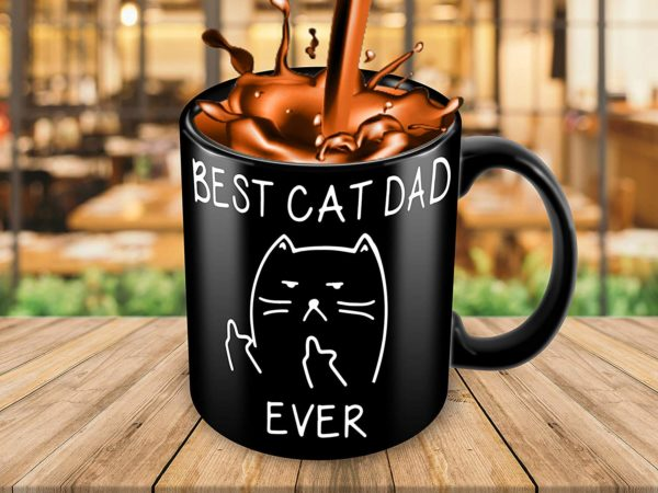 Best Cat Dad EverFunny Cat Lover Gifts Funny Middle Finger Black Coffee MugUnique Birthday Gift For Dad B079FVKRCM 3