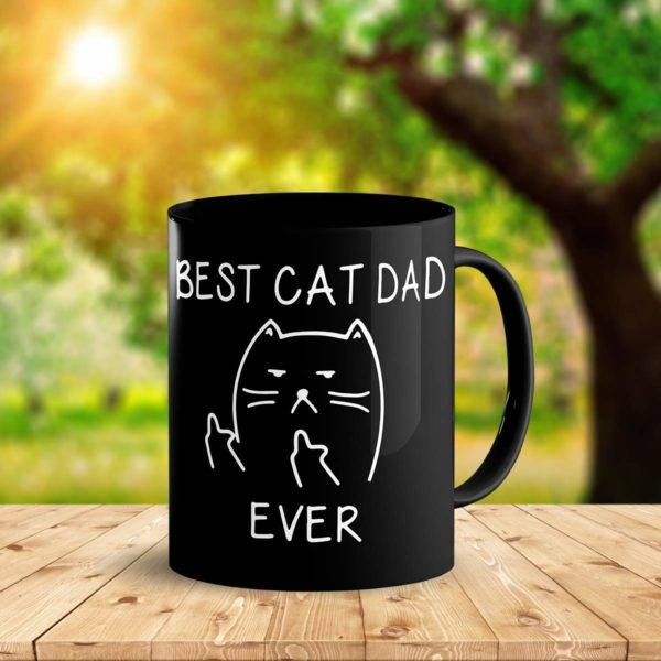 Best Cat Dad EverFunny Cat Lover Gifts Funny Middle Finger Black Coffee MugUnique Birthday Gift For Dad B079FVKRCM 4